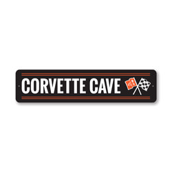 Corvette Cave Chevy Sign, Decorative Garage Sign, Novelty Car Sign