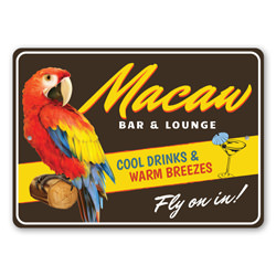 Macaw Bar And Lounge Metal Sign