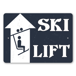 Ski Lift, Ski Lodge Cabin, Skier Gift Sign