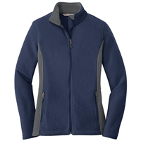 WOMEN'S 2-TONE SLIMMING FLEECE JACKET (EMBROIDERED)