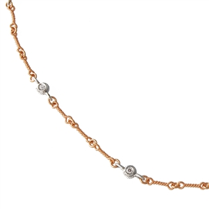 Textured Link Diamonds by the Inch in Two Tone Rose Gold