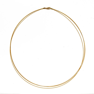 Multi Strand 3 Cable Wire Necklace 18k or 14k Gold