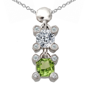 Drop Pendant Square Cushion Cut Peridot & Diamond