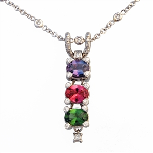 Drop Pendant Alexandrite, Pink Tourmaline, Green Tourmaline, Includes chain 14k Gold