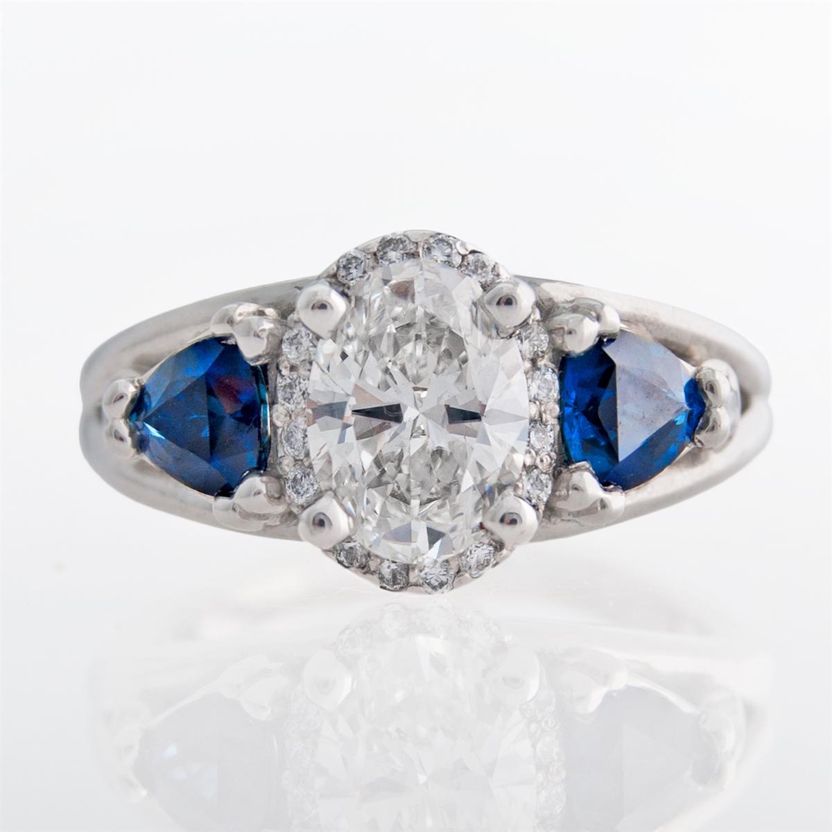 Three Stone Oval Halo Diamond Ring With Trillion Sapphires