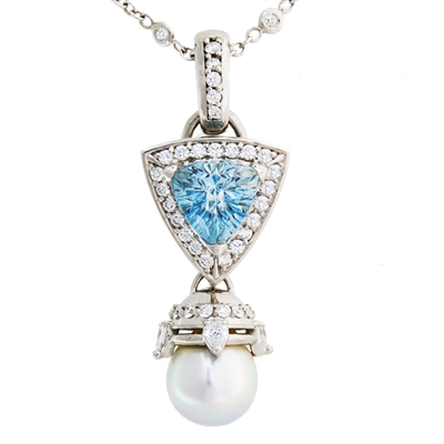 Pearl and the Sea Diamond and Aquamarine Pendant, set in 14k Gold
