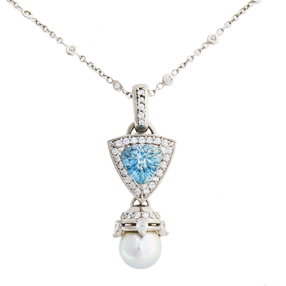 qp marine pearl and gold aquamarine pendant aqua white in necklace