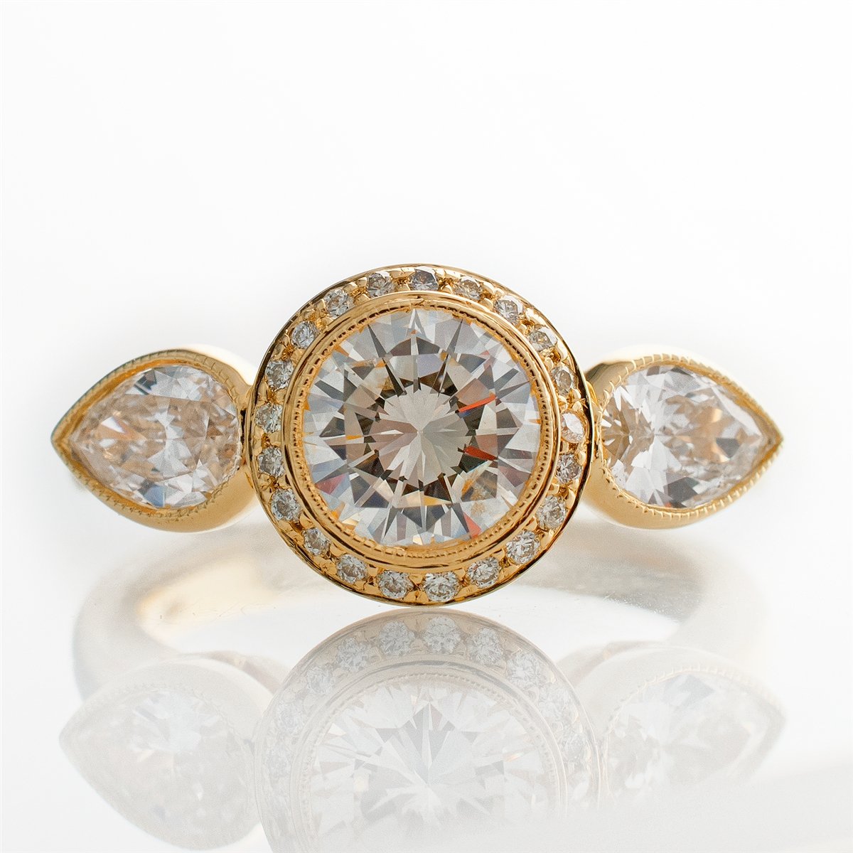 Bezel Diamond Engagement Ring With Side Stones
