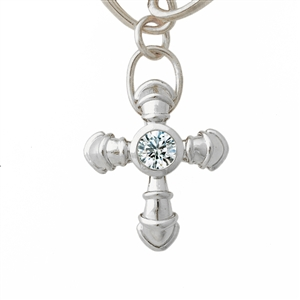 Diamond Cross in Sterling Silver, .25 carat center diamond