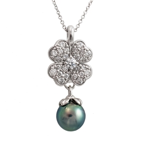 Diamond & Tahitian Pearl Clover Versa Pendant, .55ct of ideal cut diamonds