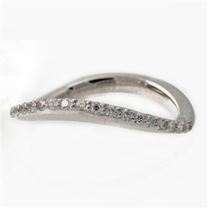 Curved Diamond Wedding Band,  .20ct of ideal cut diamonds