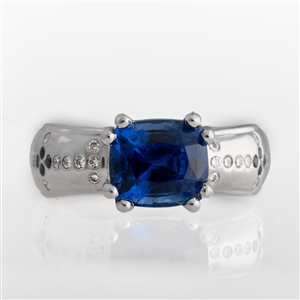 3.76 Carat Modified Cushion Blue Sapphire & Diamond Ring