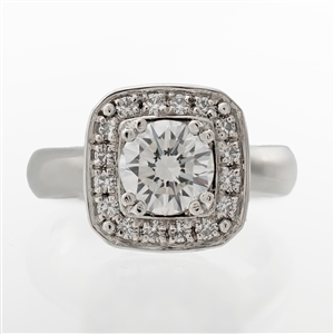 Cushion Halo Round Center Diamond Ring
