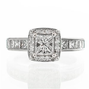Cushion Halo Princess Cut Center Diamond Engagement Ring