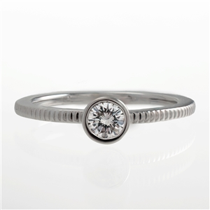 .25ct Diamond Bezel Notched Ring, Stackable