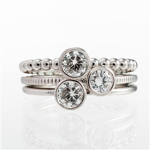 Diamond Bezel Stackable Rings ~ .75ct total