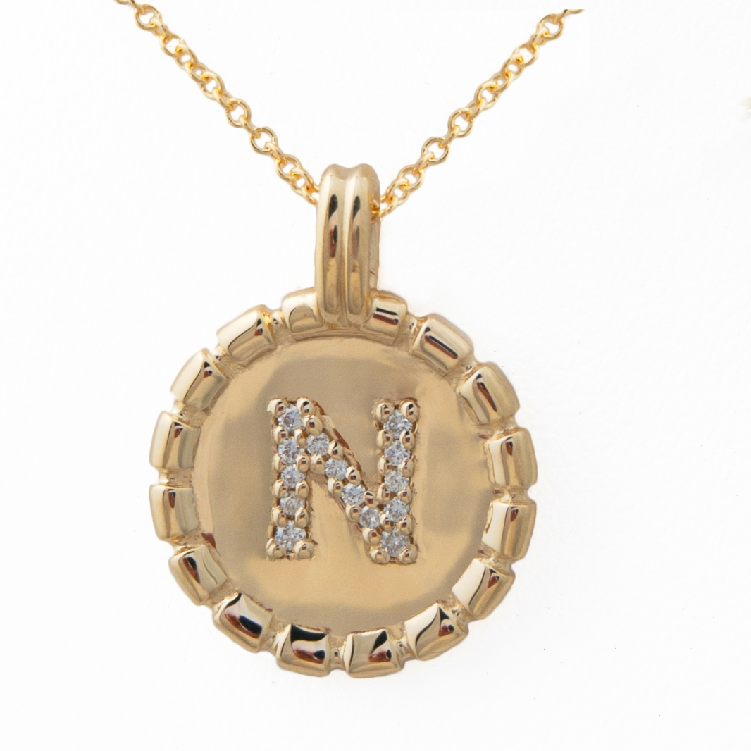 J briggs co letter medallion necklace gold and diamonds diamond letter medallion necklace aloadofball Choice Image