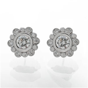 1ct of diamonds, Diamond Bezel BeeBee Earrings