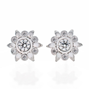 Diamond Bezel Flower Earrings,  .35ct