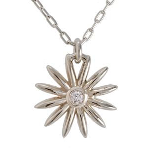 Daisy Flower Diamond Necklace, 14k Yellow or White Gold.