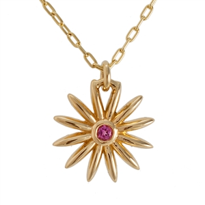 Daisy Pink Tourmaline Necklace, 14k, 18k Yellow or White Gold and Platinum