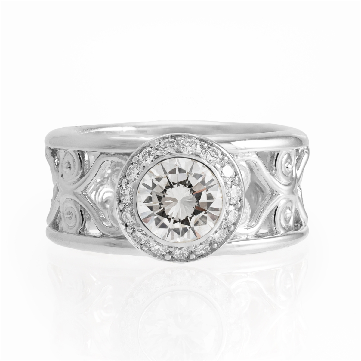 J Briggs & Co Filigree Wide Band Halo Diamond Ring