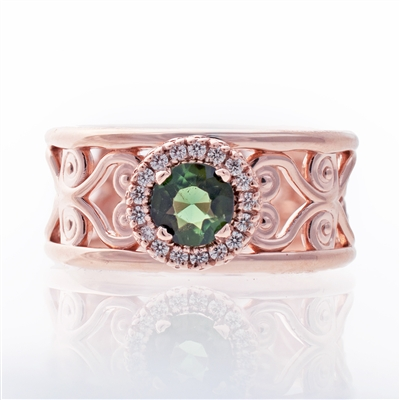 Green Tourmaline Filigree Halo Ring