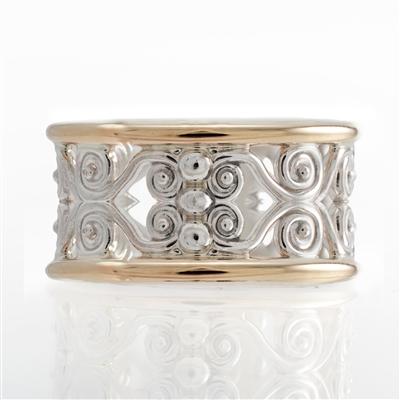Filigree Wide Band, Silver with gold accent, Multi Tone