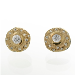 .70ct Hammered Diamond Studs, star gaze arrangement