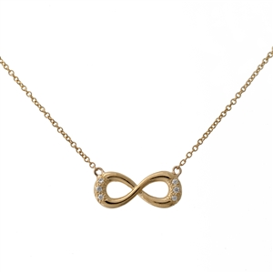 Infinity Diamond Necklace, Cable chain included.  14k Gold.