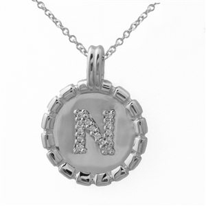 Letter Medallion Necklace Sterling Silver and Diamonds,  personalized