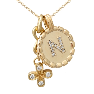 Diamond Letter Medallion, bundled with Infinity Square Petal Pendant, 14k Yellow or White Gold