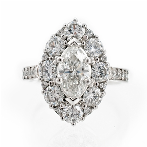 Marquise Halo Diamond Ring, 2.70ct of diamonds and milgrain detail