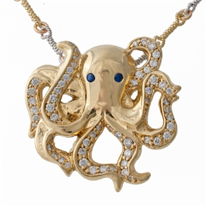 Minerva the Octopus with Diamonds, sapphire, 14k gold