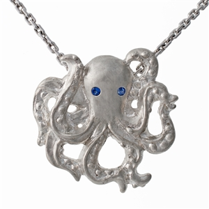 Greek Minerva the Octopus, Inlcudes 1mm cable chain. Available in14k,18k yellow, white and rose gold.