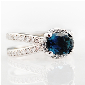 Oval Halo Double Band Diamond Ring Blue Sapphire