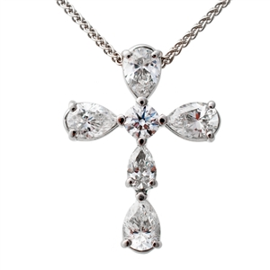 Pear Diamond Cross 1.20ct
