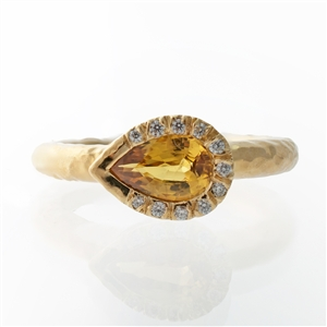 Hammered Pear Bezel Yellow Sapphire Ring, White Diamonds. 14k Gold, Blue Sapphire