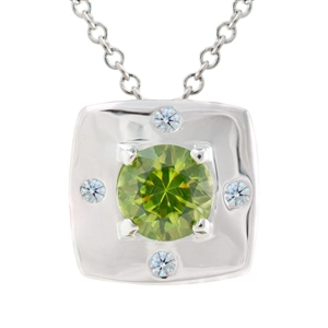 Cushion Shaped Pendant with Diamonds and Peridot, includes a 1mm cable chain in multiple lengths. 18k, 14k gold, platinum