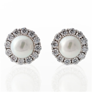 Statement Akoya Pearl Halo Earrings