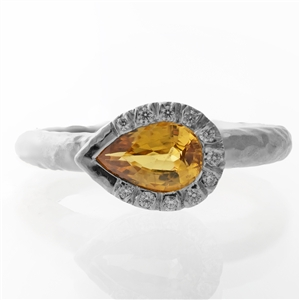 Hammered Pear Bezel Yellow Sapphire Sterling Silver Ring
