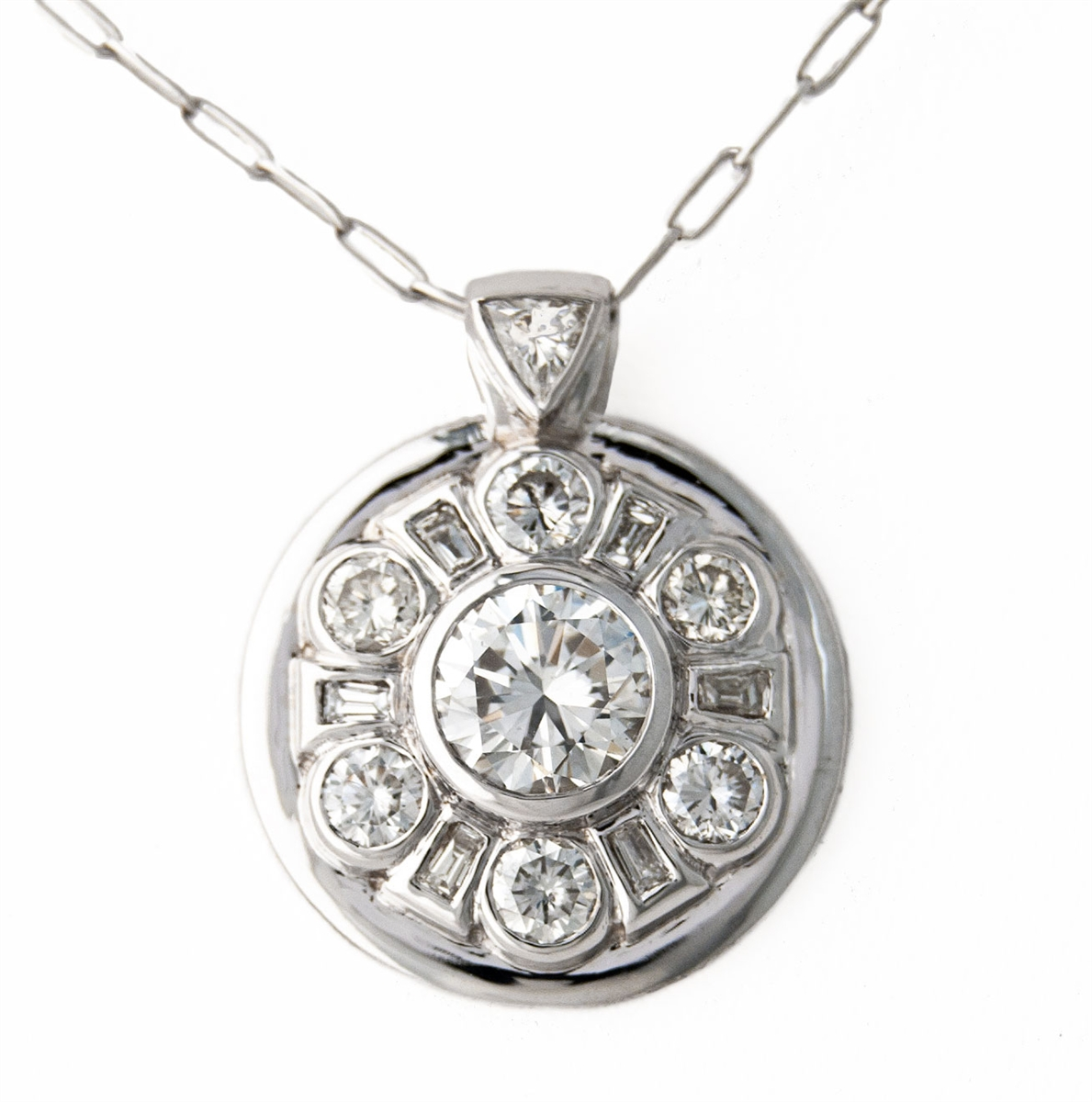 pendant classic deco roberto gallery gold baguette product necklace diamond lyst coin jewelry normal white