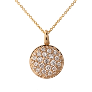 Diamond Pave Pendant Tag, Round, Chain included