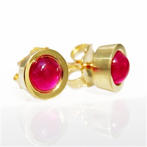 Ruby Cabochon Bezel Earrings