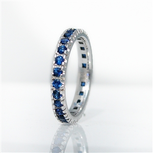 Blue Sapphire Eternity Band 4 Prong Set