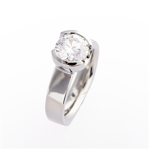 Semi Bezel Diamond Engagement Ring,  .75 carat diamond in a semi bezel 14k gold setting with wide band.