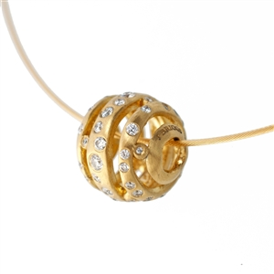 Sfera Wave Diamond Pendant Necklace, .5 carat of ideal cut round diamonds in a brushed 14k gold finish.  Chain included.