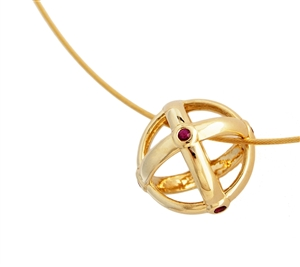 Sfera Ruby Bezel Pendant Necklace