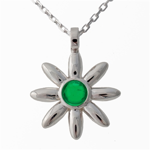 Flower Pendant Diamond (large), Emerald, 1mm cable chain