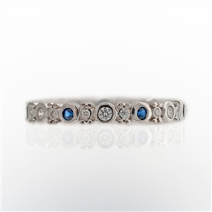 Shape Stackable Eternity Ring Round Sapphires and Diamonds with Bead Accent
